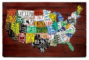 a graphic of the United States made out o license plates