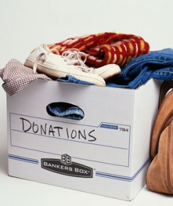 a box full of clothes to be donated.