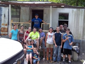 A small group of young adults who volunteered with the mission trip