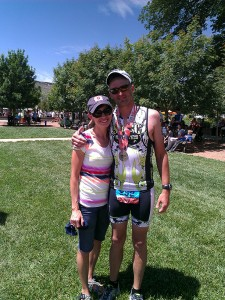 a man and a woman who just finished running a marathon