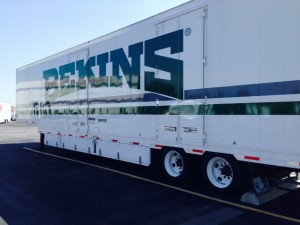 Outside of closed door Bekins Truck