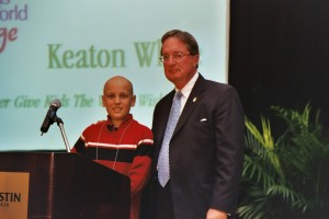 Bekins Chairman, Stephen Burns with Keaton White, who inspired Keaton's Korral at Give Kids The World Village