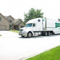 bekins moving truck outside home