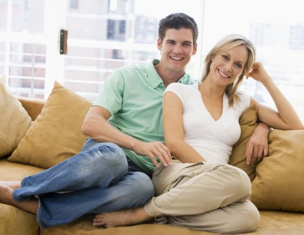 Couple on Sofa Happy