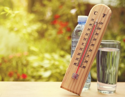 Thermometer on summer day