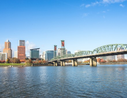 tranquil water with cityscape and skyline of portland