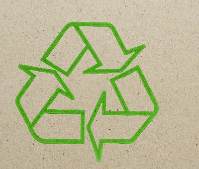Recycling logo on brown paper