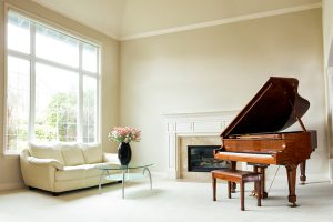 Bright living room with grand piano