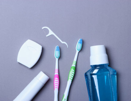 Flat composition for oral care and place for text on a light background. Dental hygiene